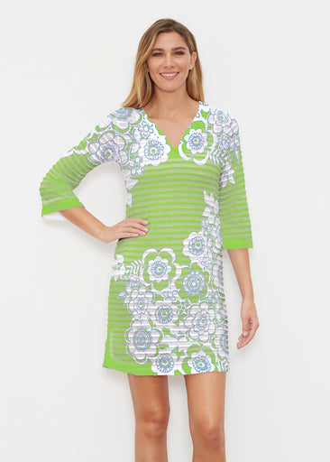Free Floral Lime (13436) ~ Banded 3/4 Sleeve Cover-up Dress