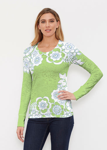 Free Floral Lime (13436) ~ Thermal Long Sleeve Crew Shirt