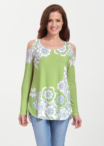 Free Floral Lime (13436) ~ Butterknit Cold Shoulder Tunic