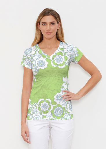 Free Floral Lime (13436) ~ Signature Cap Sleeve V-Neck Shirt