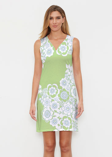 Free Floral Lime (13436) ~ Classic Sleeveless Dress