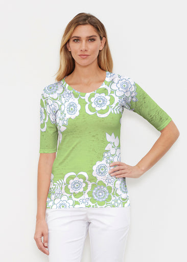 Free Floral Lime (13436) ~ Elbow Sleeve Crew Shirt