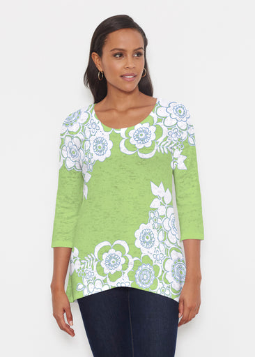 Free Floral Lime (13436) ~ Katherine Hi-Lo Thermal Tunic
