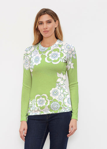 Free Floral Lime (13436) ~ Butterknit Long Sleeve Crew Top
