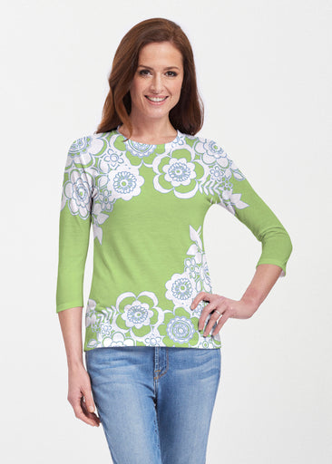 Free Floral Lime (13436) ~ 3/4 Sleeve Crew