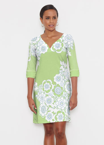 Free Floral Lime (13436) ~ Classic 3/4 Sleeve Sweet Heart V-Neck Dress