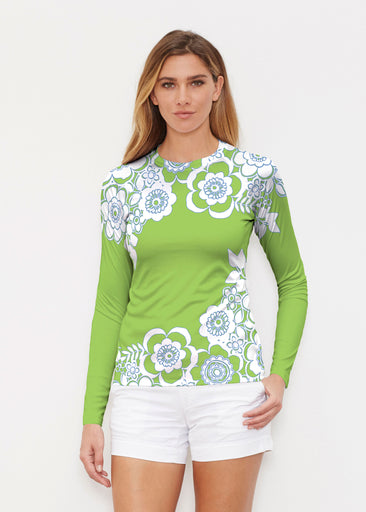 Free Floral Lime (13436) ~ Long Sleeve Rash Guard