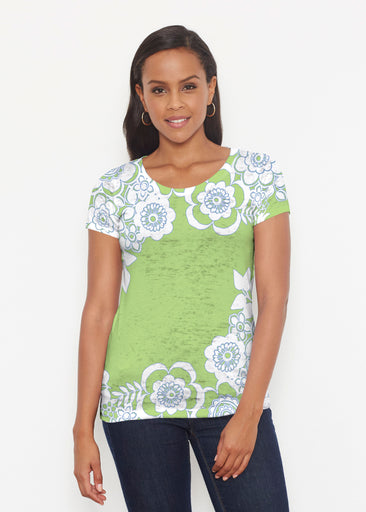 Free Floral Lime (13436) ~ Signature Short Sleeve Scoop Shirt