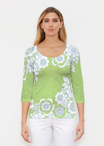 Free Floral Lime (13436) ~ Signature 3/4 Sleeve Scoop Shirt