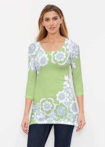 Free Floral Lime (13436) ~ Buttersoft 3/4 Sleeve Tunic
