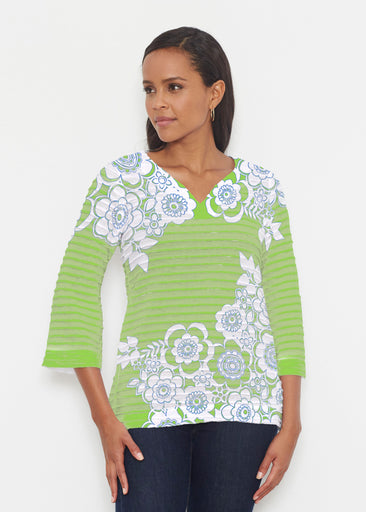Free Floral Lime (13436) ~ Banded 3/4 Bell-Sleeve V-Neck Tunic