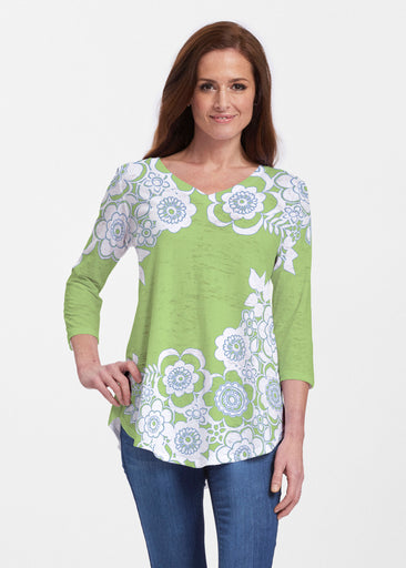 Free Floral Lime (13436) ~ V-neck Flowy Tunic
