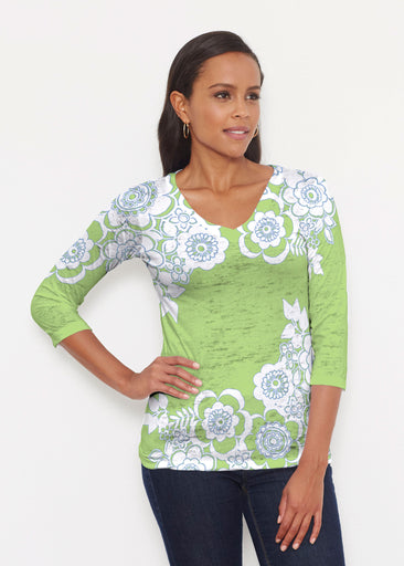 Free Floral Lime (13436) ~ Signature 3/4 V-Neck Shirt