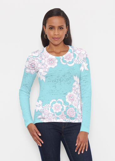 Free Floral Aqua (13438) ~ Signature Long Sleeve Crew Shirt