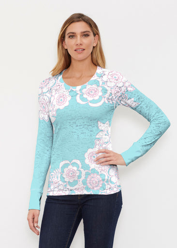 Free Floral Aqua (13438) ~ Thermal Long Sleeve Crew Shirt