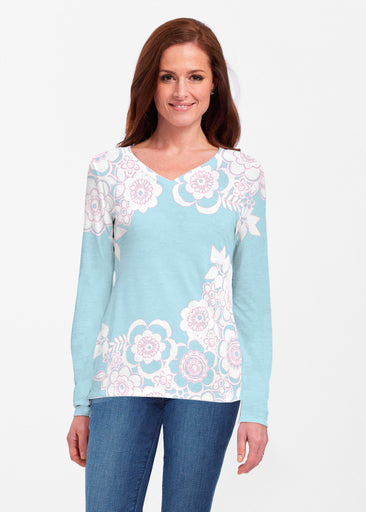 Free Floral Aqua (13438) ~ Classic V-neck Long Sleeve Top