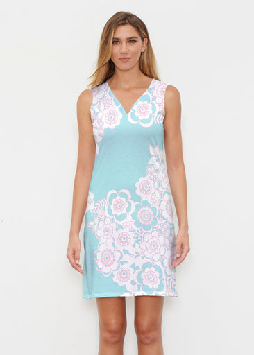 Free Floral Aqua (13438) ~ Classic Sleeveless Dress
