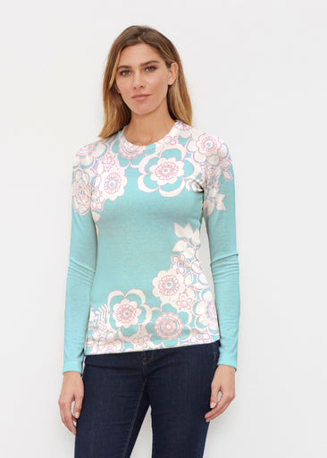 Free Floral Aqua (13438) ~ Butterknit Long Sleeve Crew Top