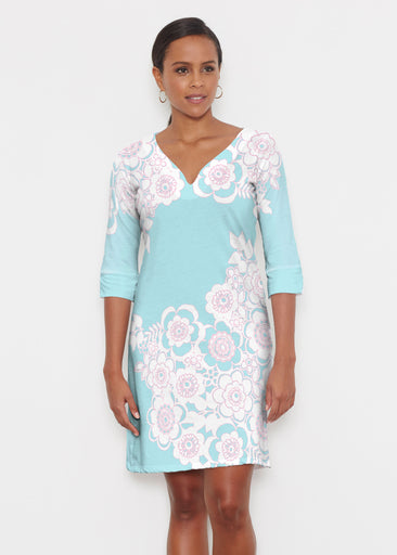 Free Floral Aqua (13438) ~ Classic 3/4 Sleeve Sweet Heart V-Neck Dress