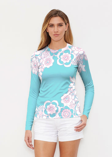 Free Floral Aqua (13438) ~ Long Sleeve Rash Guard