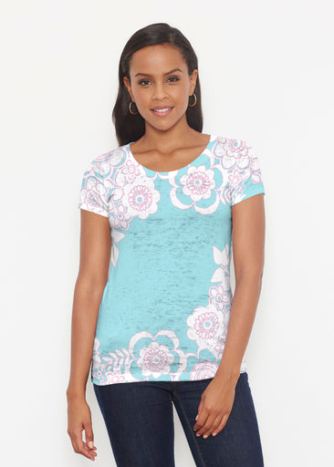 Free Floral Aqua (13438) ~ Short Sleeve Scoop Shirt