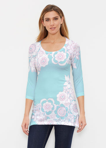 Free Floral Aqua (13438) ~ Buttersoft 3/4 Sleeve Tunic
