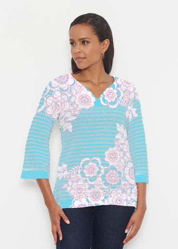 Free Floral Aqua (13438) ~ Banded 3/4 Bell-Sleeve V-Neck Tunic