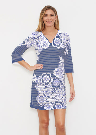 Free Floral Navy (13451) ~ Banded 3/4 Sleeve Cover-up Dress