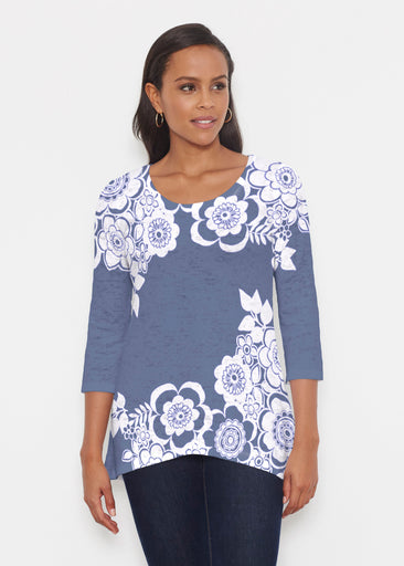 Free Floral Navy (13451) ~ Katherine Hi-Lo Thermal Tunic