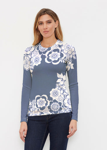 Free Floral Navy (13451) ~ Butterknit Long Sleeve Crew Top