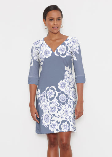 Free Floral Navy (13451) ~ Classic 3/4 Sleeve Sweet Heart V-Neck Dress