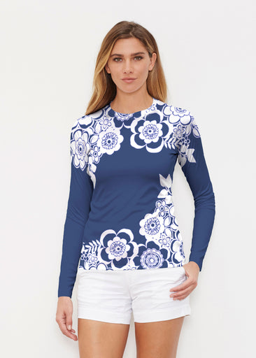 Free Floral Navy (13451) ~ Long Sleeve Rash Guard