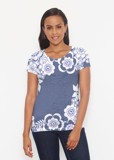 Free Floral Navy (13451) ~ Short Sleeve Scoop Shirt