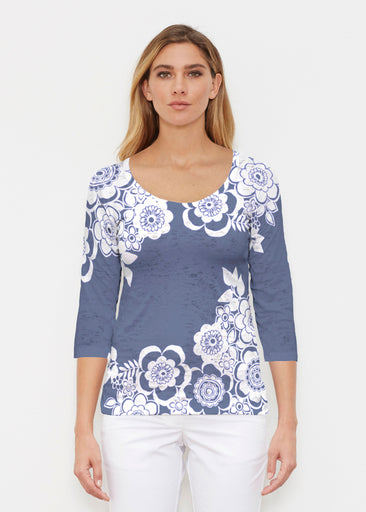 Free Floral Navy (13451) ~ Signature 3/4 Sleeve Scoop Shirt