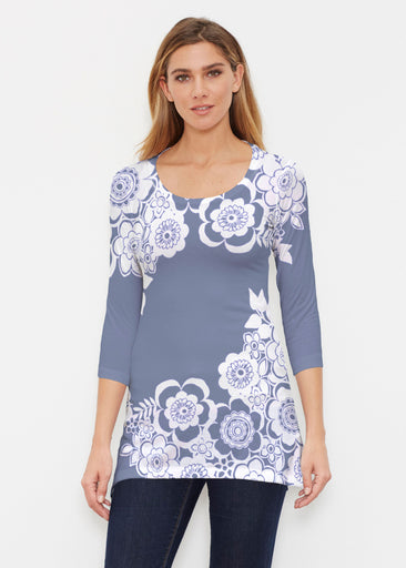 Free Floral Navy (13451) ~ Buttersoft 3/4 Sleeve Tunic