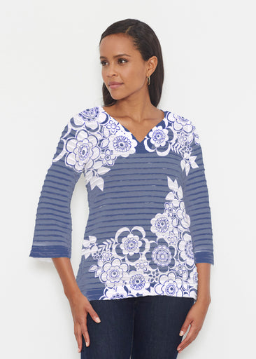 Free Floral Navy (13451) ~ Banded 3/4 Bell-Sleeve V-Neck Tunic