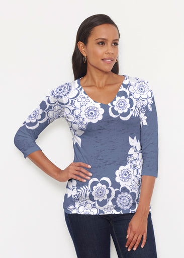 Free Floral Navy (13451) ~ Signature 3/4 V-Neck Shirt