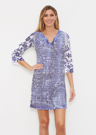Medallion Flower (13453) ~ Banded 3/4 Sleeve Cover-up Dress