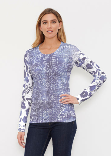 Medallion Flower (13453) ~ Thermal Long Sleeve Crew Shirt