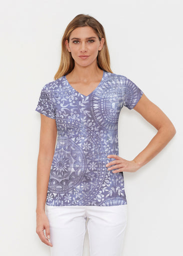 Medallion Flower (13453) ~ Signature Cap Sleeve V-Neck Shirt