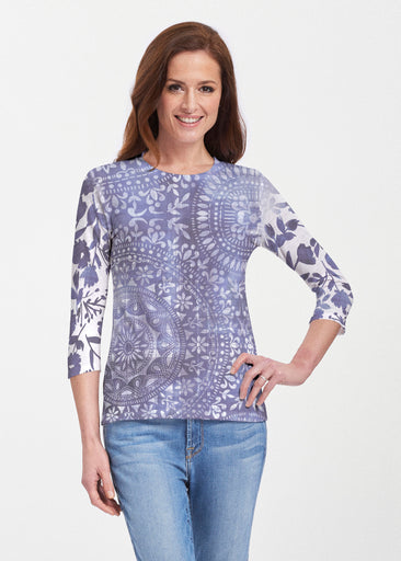 Medallion Flower (13453) ~ 3/4 Sleeve Crew