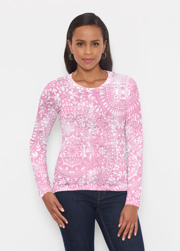 Dual Medallion Pink (13461) ~ Signature Long Sleeve Crew Shirt
