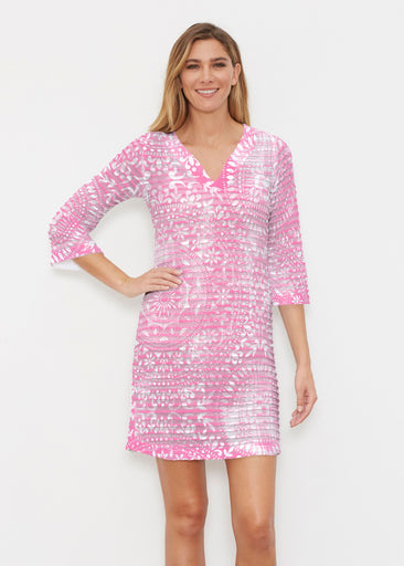 Dual Medallion Pink (13461) ~ Banded 3/4 Sleeve Cover-up Dress