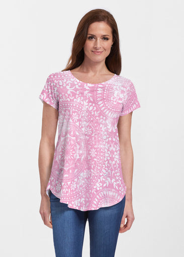 Dual Medallion Pink (13461) ~ Signature Short Sleeve Scoop Neck Flowy Tunic