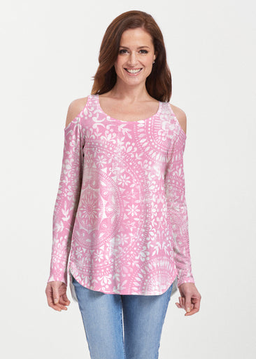 Dual Medallion Pink (13461) ~ Butterknit Cold Shoulder Tunic