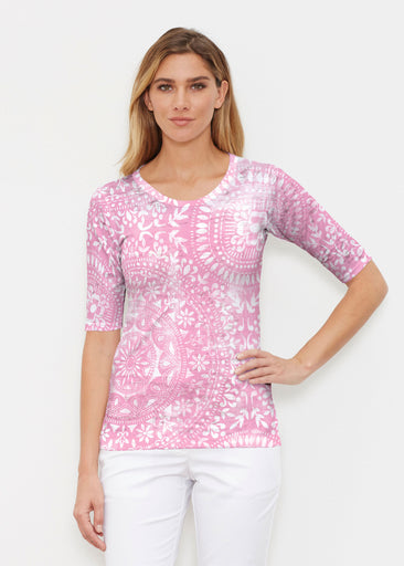 Dual Medallion Pink (13461) ~ Elbow Sleeve Crew Shirt