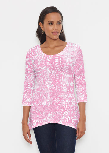 Dual Medallion Pink (13461) ~ Katherine Hi-Lo Thermal Tunic