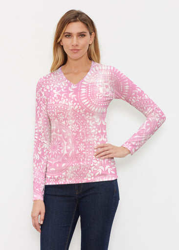Dual Medallion Pink (13461) ~ Butterknit Long Sleeve V-Neck Top