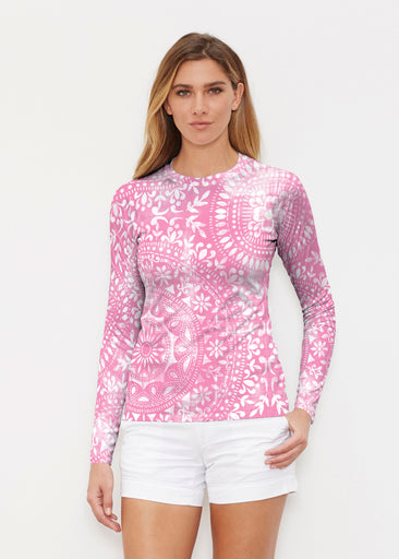 Dual Medallion Pink (13461) ~ Long Sleeve Rash Guard