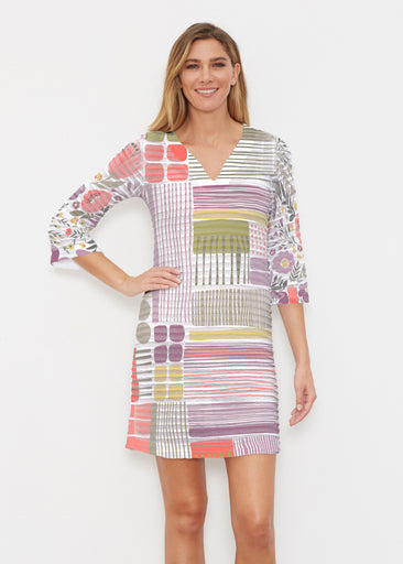 Transcendent Floral (13483) ~ Banded 3/4 Sleeve Cover-up Dress